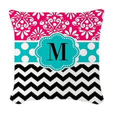 Pink Teal Chevron Monogram Woven Throw Pillow