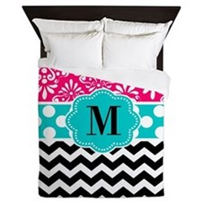 Pink Teal Chevron Monogram Queen Duvet