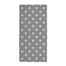 Grey Polka Dots Beach Towel