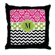 Pink Green Chevron Monogram Throw Pillow