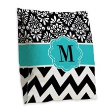 Black Teal Damask Monogram Burlap Throw Pillow