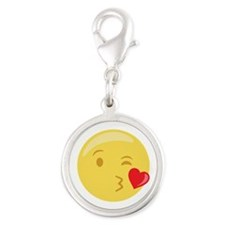 Kiss Wink Face Emoticon Charms