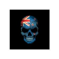 New Zealand Flag Skull on Black Sticker