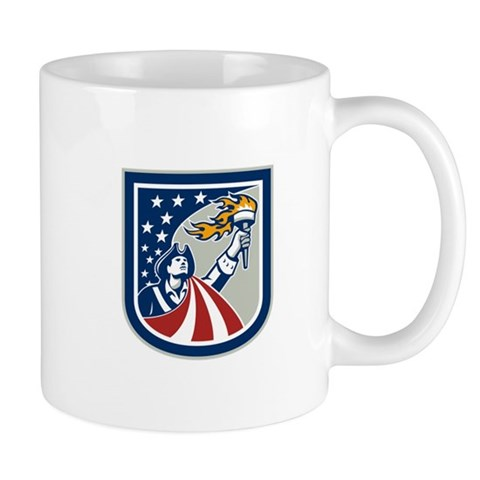 American Patriot Holding Up Torch Flag Shield Mugs