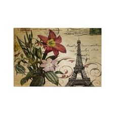 vintage lily paris eiffel tower p Rectangle Magnet