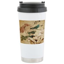 teal bird vintage roses Travel Mug
