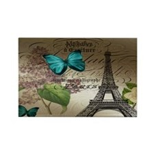 lilac butterfly eiffel tower pari Rectangle Magnet