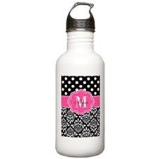 Black Pink Dots Damask Personalized Water Bottle