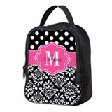 Pink black damask dots Lunch Bags