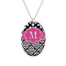 Black Pink Dots Damask Personalized Necklace
