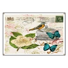 butterfly bird vintage paris floral art Banner