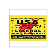 "Cute Hunting permit Square Sticker 3"" x 3"""