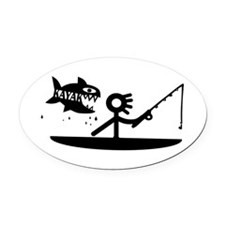Kayak Fishing Oval Car Magnet