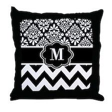 Black White Damask Chevron Monogram Throw Pillow