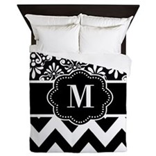 Black White Damask Chevron Monogram Queen Duvet