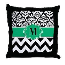 Black Green Damask Monogram Throw Pillow