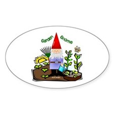 Garden Gnome Oval Stickers