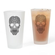 Dark Swirling Sugar Skull Drinking Glass