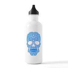 Blue Swirling Sugar Skull Water Bottle