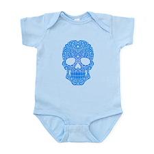 Blue Swirling Sugar Skull Body Suit