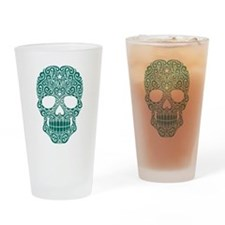 Teal Blue Swirling Sugar Skull Drinking Glass