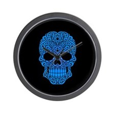 Blue Swirling Sugar Skull on Black Wall Clock