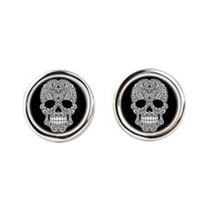 White Swirling Sugar Skull on Black Cufflinks
