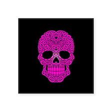 Pink Swirling Sugar Skull on Black Sticker