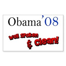 Obama Well Spoken & Clean Rectangle Decal