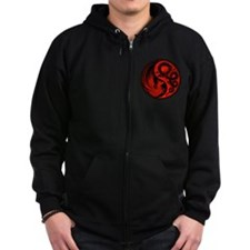 Red and Black Dragon Phoenix Yin Yang Zipped Hoodi