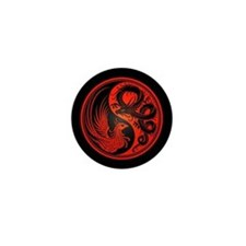 Dragon Phoenix Yin Yang Red and Black Mini Button