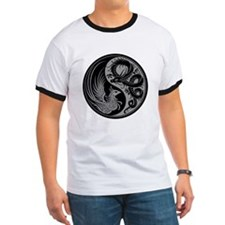 Gray and Black Dragon Phoenix Yin Yang T-Shirt