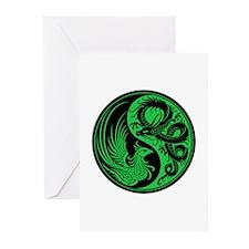 Green And Black Dragon Phoenix Yin Greeting Cards