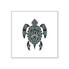 Teal Blue and Black Haida Sea Turtle Sticker