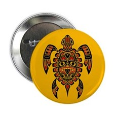 "Red and Black Haida Sea Turtle on Yellow 2.25"" But"
