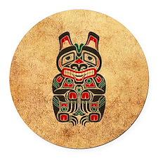 Aged and Worn Haida Spirit Bear Round Car Magnet