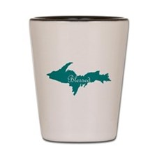 Script Blessed On Teal U.P. Shot Glass