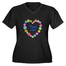 Proud Aunt H Women's Plus Size V-Neck Dark T-Shirt