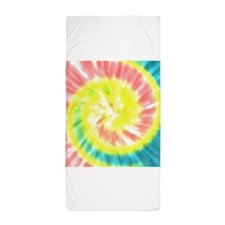 Coral and Yellow Tie Dye Beach Towel