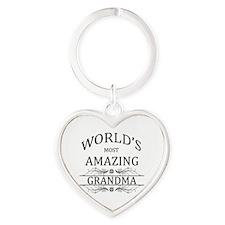 World's Most Amazing Grandma Heart Keychain