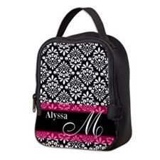 Black Pink Damask Personalized Neoprene Lunch Bag