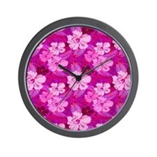 Hibiscus Flowers Pink Wall Clock