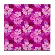 Hibiscus Flowers Pink Tile Coaster