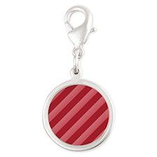 Strawberry Stripes Silver Round Charm