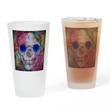 flower power skull Drinking Glass