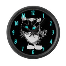 Blue Eyed Cat Large Wall Clock