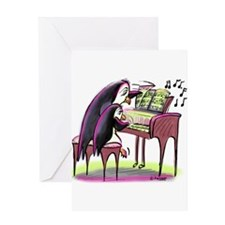 Piano Penguins Greeting Cards
