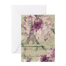 modern paris eiffel tower purple flowers Greeting