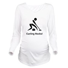 Curling Rocks Black.png Long Sleeve Maternity T-Sh