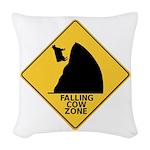 Falling Cow Zone Yellow Woven Throw Pillow